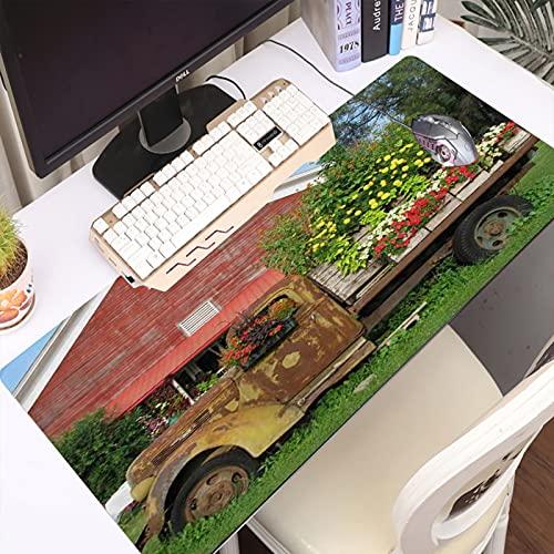 FAQIMEI Alfombrilla Gaming para PC Western Farm House rústico Viejo camión Granero de Madera, Máxima Precisión con Base de Caucho Natural, Máxima Comodidad