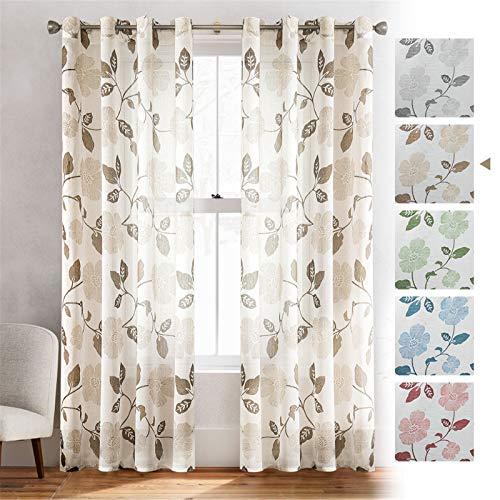 MRTREES Voile Gardinen Vorhang halbtransparent 3D Blumen Stickerei Vorhänge Muster mit Ösen Leinenoptik für Wohnzimmer Schlafzimmer Kinderzimmer Braun 225×140 (H×B) 2er -Set