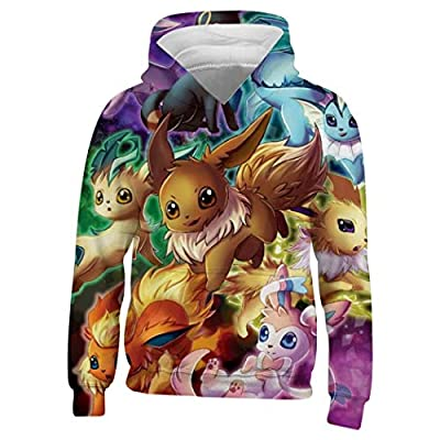 Kids/Youth E-Evee Evolution Hoodie - Casual Hooded Sweatshirt Tops, Pullover Hoodies with Pocket for Boys Girls Youth XXL