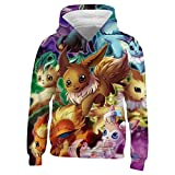 Kids/Youth E-Evee Evolution Hoodie - Casual Hooded Sweatshirt Tops, Pullover Hoodies with Pocket for Boys Girls (X-Large, White-11)