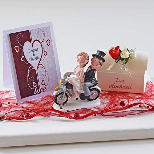Geld Geschenk zur Hochzeit mit Brautpaar auf Motorrad und Karte personalisiert