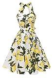 Topdress Women's Vintage Polka Audrey Dress 1950s Halter Retro Cocktail Dress White Lemon M