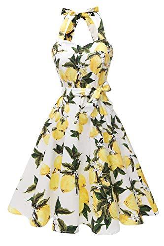 Topdress Women's Vintage Polka Audrey Dress 1950s Halter Retro Cocktail Dress White Lemon S