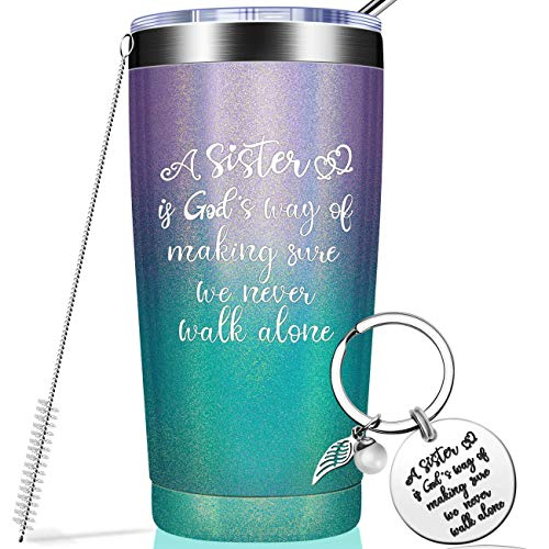 Sister Gifts from Sister - Graduation Gifts for Sister, Funny Birthday Gifts Ideas for Women, Big Sister, Little Sister, Best Friends - Vacuum Insulated Wine Tumbler with Keychain Glitter 20oz