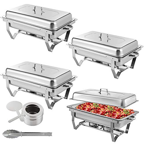 8Qt Chafing Dish Full Size Stainless Steel Chafer Dish Buffet Round Chafer Catering Warmer Set with Food and Water Trays, Mirror Cover, Thick Stand Frame for Kitchen Party Banquet (4Pack)