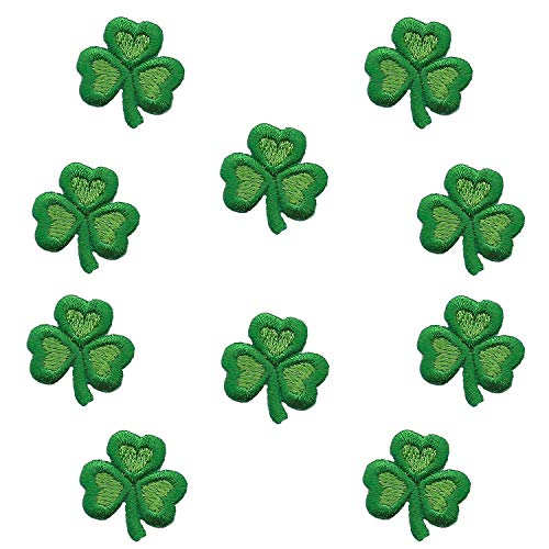 10 Pack - Three Leaf Clover Iron On Shamrock Patch Appliques for Clothing Uniform Hat Backpack Jacket Pants Accessories…