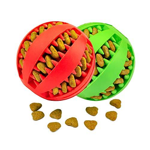 KLAS REMO Giocattolo Palla per Cane, Gioco Palla Rimbalzante Cane, Giocattolo Resistente Palla per Cani, Palla per Pulito dei Denti di Cane Pulizia Denti Cane - 7cm di Diametro, 2 Pack Rosso e Verde