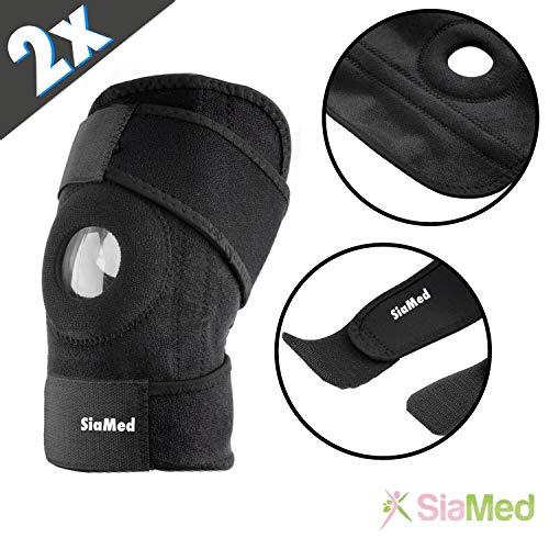 SiaMed Rodillera prémium, vendaje deportivo, ortesis de rodilla ajustable para hombre y mujer, rodilleras que protegen los meniscos y las ligas, protección óptima y mejor apoyo