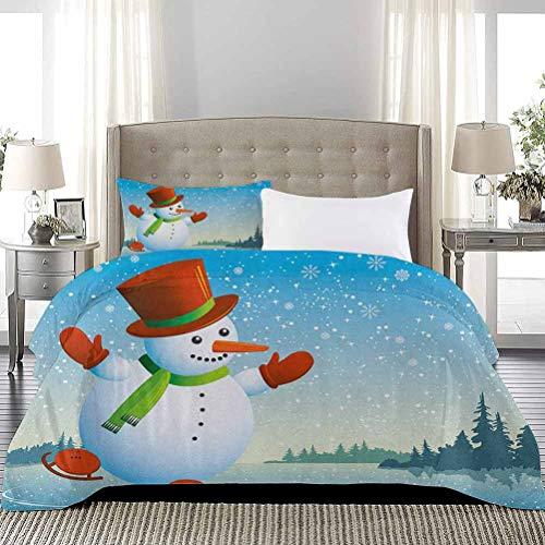 UNOSEKS LANZON - Colcha de dibujos animados Happy Character Skating on ICY River Forest Trees Snowy Country Funda de edredon suave, comoda y duradera, color azul, naranja verde, tamano completo
