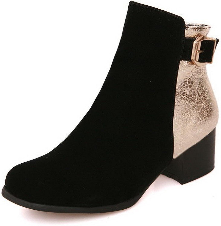 AllhqFashion Women's Zipper Kitten-Heels Blend Materials Assorted color Low-top Boots