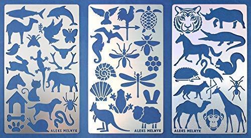 Aleks Melnyk #43 Schablonen/Metall Stencils Vorlagen for Painting/Tiere/3 Stück/DIY Kunst Projekte/Stencils für Scrapbooking und Zeichnen/Brandmalerei Schablonen/Basteln