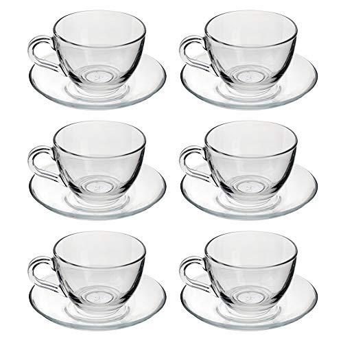 Pasabahce Basic 12 Pezzi, Set di  6 Tazze Tè con 6 Piattini in Vetro