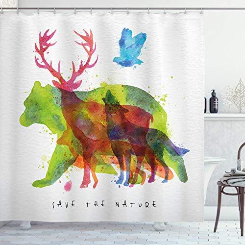 ABAKUHAUS Tier Duschvorhang, Alaska Tiere Bär Wolf, Moderner Digitaldruck mit 12 Haken auf Stoff Wasser & Bakterie Resistent, 175 x 180 cm, Multicolor