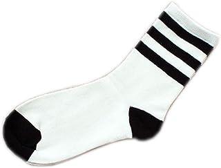 MoGist Mujer Zapatillas Calcetines Fácil clásica Negra Rayas Blancas otoño Invierno Medio Larga algodón Transpirable Medio Larga Calcetines Blanco