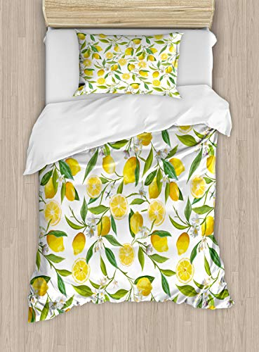 Ambesonne Nature Duvet Cover Set Twin Size, Exotic Lemon Tree Branches Yummy Delicious Kitchen Gardening Design, Decorative 2 Piece Bedding Set with 1 Pillow Sham, Fern Green Yellow White