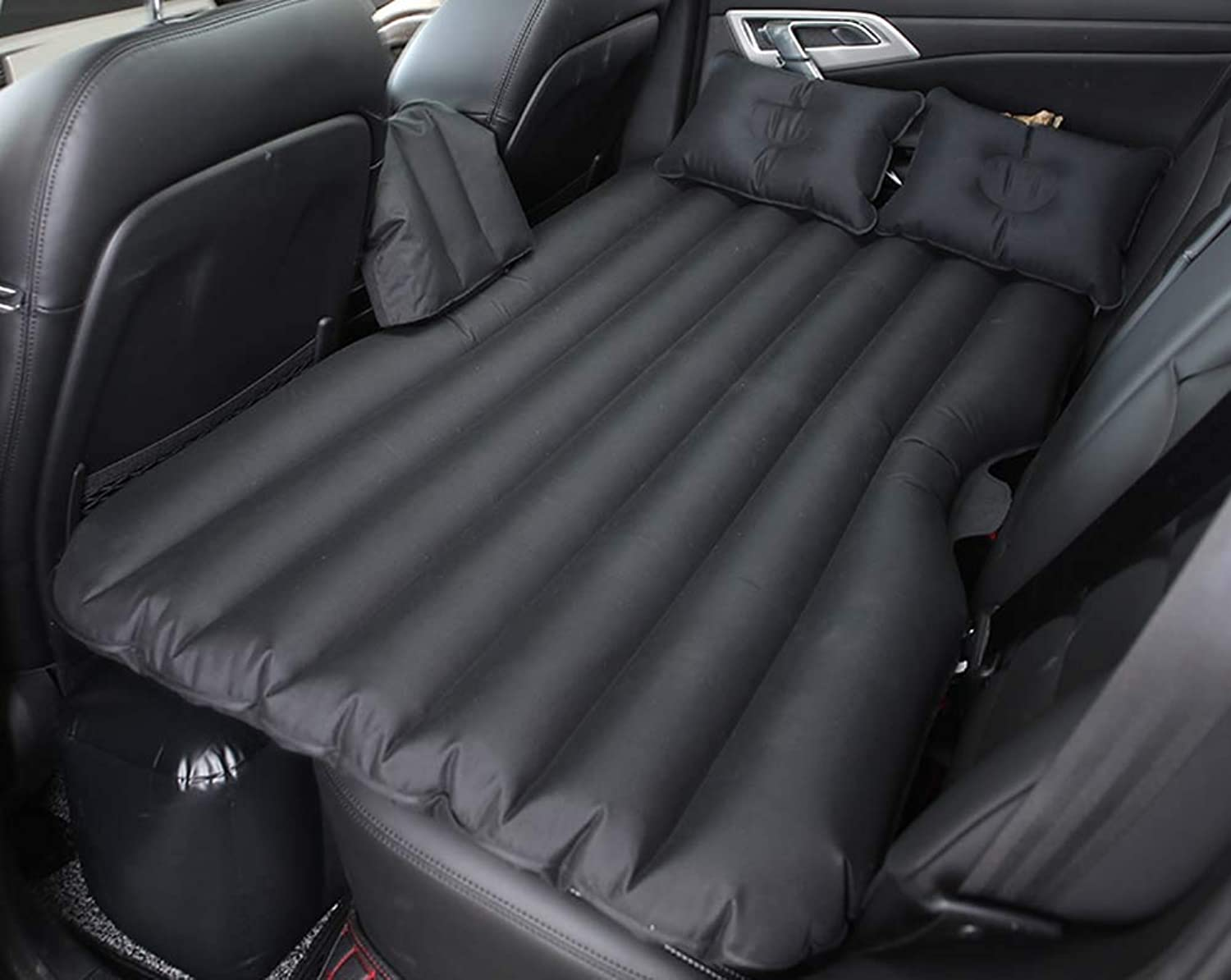 Car Inflatable Bed Back Seat Mattress, Camping Air Bed Car Mobile Cushion Inflation Back Seat Extended Couch with Motor Pump,Black,B