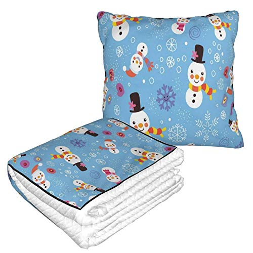 ACVACV Travel Blanket and Pillow Best Merry Christmas Snowman Blue Warm Soft Flannel 2-in-1 Combo Throw Pillow Blanket for Airplane, Camping, Car Trips, Large Compact Blanket Set