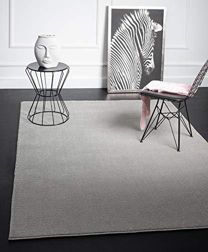 Mia´s Teppiche Emma Wohnzimmer Teppich, Kurzflor 17 mm, 80x150 cm, Polypropylen, Grau, 17 cm