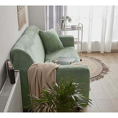 Felpa Cubiertas De Sofá para 1 2 3 4 Cubierta De Sofá,Completo Elásticoidad Couch Protector con Correas,Polvo-Prueba Elástico Soft Couch Cover para Perros Niños-