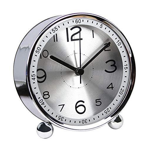 ALEENFOON 4 Inch Metalen Alarmklok, Niet Tikken Stille Retro Alarmklok, Batterij Bediende Luid Wakker Wekker Klokken voor Bedden Slaapkamer Reizen Kinderen