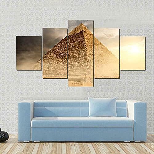 Lienzo 5 Piezas Ancient Pyramid in Dust Clouds Lienzos Decorativos Cuadros Grandes Baratos Cuadros Decoracion Cuadros para Dormitorios Modernos Cuadros Decoracion Regalos Personalizados