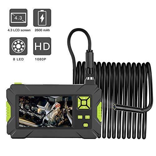 WOGQX 1080P HD Industrielles Endoskop, 4.3In Bildschirm 8MM Durchmesser Endoskop 2600Mah Batterie Serpentine Kamera Inspektionskamera IP67 Wasserdicht Reparatur Schlangenkamera 6.56/16.4/32.8FT,10m