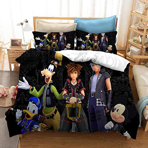 King's Heart Juego de rol Juego de cama con funda nórdica para adultos y jóvenes en 3D para niños, cama individual, cama doble, ropa de cama con funda de edredón suave y cómoda-H_173x218cm (3pcs)
