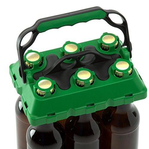 CLICK-IT BOB The Bottle Buddy Flaschenträger I Trage-Hilfe für bis zu 6 Bier-Flaschen I cooles & praktisches Gadget für Deine Party - für 0,33 l Glas-Flaschen I Bottle Carrier (grün/schwarz)