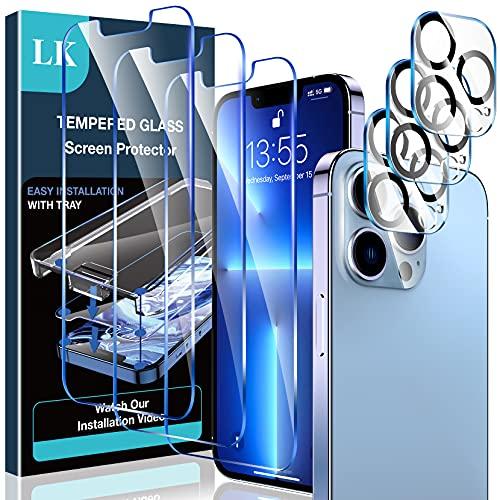 LK【3+3 Stücke Schutzfolie Kompatibel mit iPhone 13 Pro Panzerglas (6.1), 3 Schutzfolie und 3 Kamera Panzerglas, 9H Härte Panzerglasfolie, HD Klar Displayschutz, Kratzen,mit Rahmen-Installationshilfe