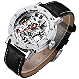 Men's Watch, Mechanical Stainless Steel Skeleton Steampunk Design Automatic Self-Winding Silver Case Wrist Watch