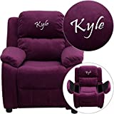 Personalized Deluxe Kid's Recliner Upholstery: Purple Microfiber
