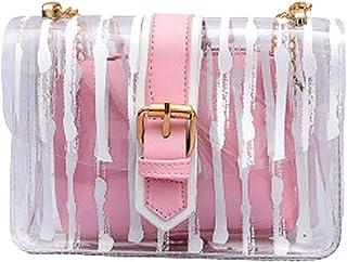 Wultia - Bags for Women Women Messenger Striped Crossbody Bag Chains Candy Color Jelly Bag 2Pcs Handbag Bolsa Feminina Pink
