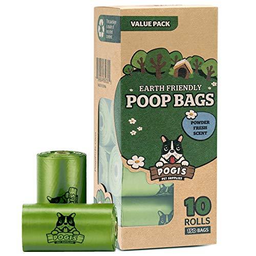 puissant Sacs à déchets pour chiens Pogi – 10 rouleaux (150 sacs) – grands, biodégradables, aromatisés,…