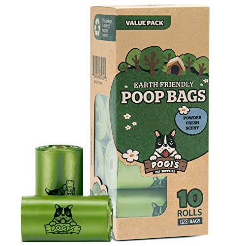Pogi\'s Hundekotbeutel - 10 Rollen (150 Tüten) - große, biologisch abbaubare, parfümierte, tropfsichere Hundetüten