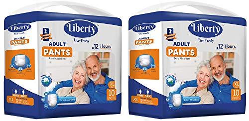 Liberty Premium Adult Diaper Pants Unisex, X-Large 2x10 Pcs, Waist Size (90-125 cms | 35-40 Inches) (Pack of 2)