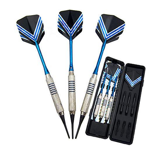 Soft Dartpijlen Soft Darts 3-delig 19G Professional Safe Dart Soft plastic tip verzilverde koperen loop, aluminium schachttraining, elektronische dart met box voor indoor dartspellen en wedstrijden