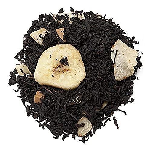 Aromas de Té - Té Negro Sonrisa Africana con Plátano Coco Trozos de Caramelo Dulce Bajo en Calorias Fuente de Energía Natural Fibra Saciante Vitamina E Antioxidante Sales Minerales, 100 gr