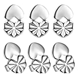 Secure Earing Backs Lifters, Adjustable Pierced Earring Backs, Magic Silver Earring Backs for Drooping Earrings 3 Pairs Per Set