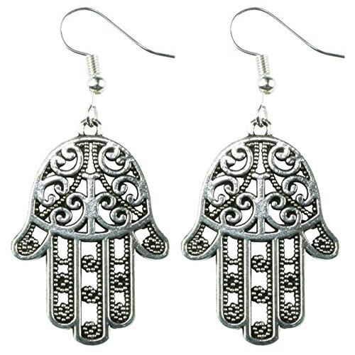 The Funky Barcode HAMSA HAND SILVER DANGLE EARRINGS Complete With Gift Box