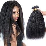 ADOIFAIR 8A Kinky Straight Hair 3 Bundles 20 22 24Inch Yaki Straight Human Hair Weave Bundles 100% Unprocessed Brazilian Virgin Remy Sew in Hair Extensions Natural Black