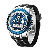 Chunky Watches Sport Chronomètre étanche Visage énorme, Alarme de Date, lumière numérique, analogique Militaire en Acier Inoxydable Montre Bracelet avec Bande en Caoutchouc (Argent Bleu)