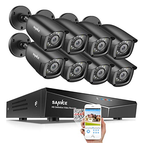 SANNCE 8CH Security Surveillance System H.264 1080N Wired DVR and (8)×1080P Weatherproof CCTV Camera System for Indoor Outdoor, 100ft Night Vision,Easy Remote Access,Smart Playback, NO Hard Drive