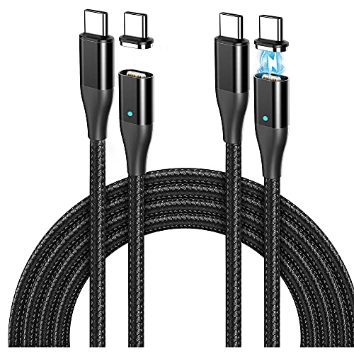 Ficabil 60W Magnetic USB C to C Cable(6ft, 2Pack), 3A Fast Magnetic Charging Cable, Type C Nylon Braided Cord to Type C Device, Support Data Transfer for Laptop, Tablet, Phone and More Devices