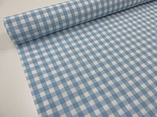 Confección Saymi Metraje 2,45 MTS Tejido Vichy Ref. Cuba Cuadro Medio 15x15 mm. Color Azul Bebe, con Ancho 2,80 MTS.