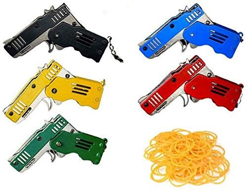 NEWLAN All Metal Mini Folding Rubber Band Toy, Colour Rubber Band Gun 6-Shot with Keychain and Rubber Band 100+, Rubber Launcher Toy Keychain, Foldable Handmade Toy for Adults Kids Boys (5PCS, 2 Set)