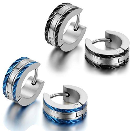 Jewelrywe Joyas Pendientes de Hombre Mujer Pendientes de Aros Acero Inoxidable Negro Plateado Dorado Azul Unisex(Con bolsa de regalo), Pendientes HipHop (negro+azul)
