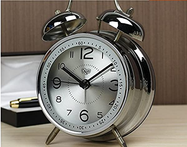 YDL Quiet Non Ticking Silent Quartz Analog Retro Vintage Bedside Twin Bell Alarm Clock With Loud Alarm And Nightlight The Best Gift For Heavy Sleepers And Kids Battery Powered Blue Silver Silver
