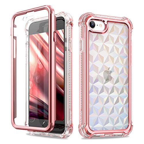 Dexnor Kompatibel mit iPhone SE 2020 hülle/iPhone 8/7 hülle (4.7''), 360-Grad-Ganzkörper Schutzhülle gegen Stöße (Release 2020) mit eingebauter Displayschutzfolie - Diamant Baby Rosa