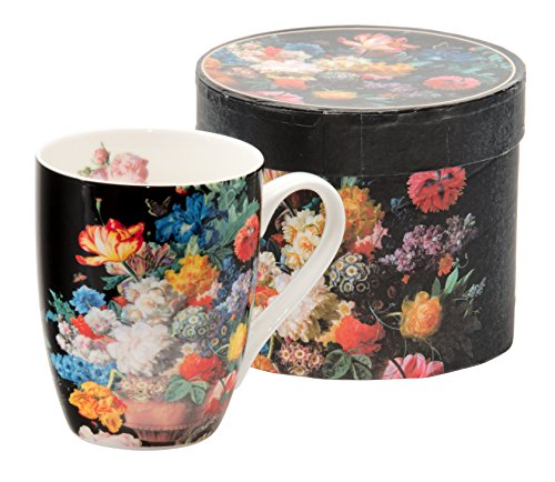 Kaffeebecher Kaffeetasse groß schwarz Motiv Blumen Porzellan Teetasse Geschenktasse Becher Trinkbecher Mug Cup 320 ml von DUO Set in Geschenk Boxmit Blumenmotiv (Bunch of flowers)