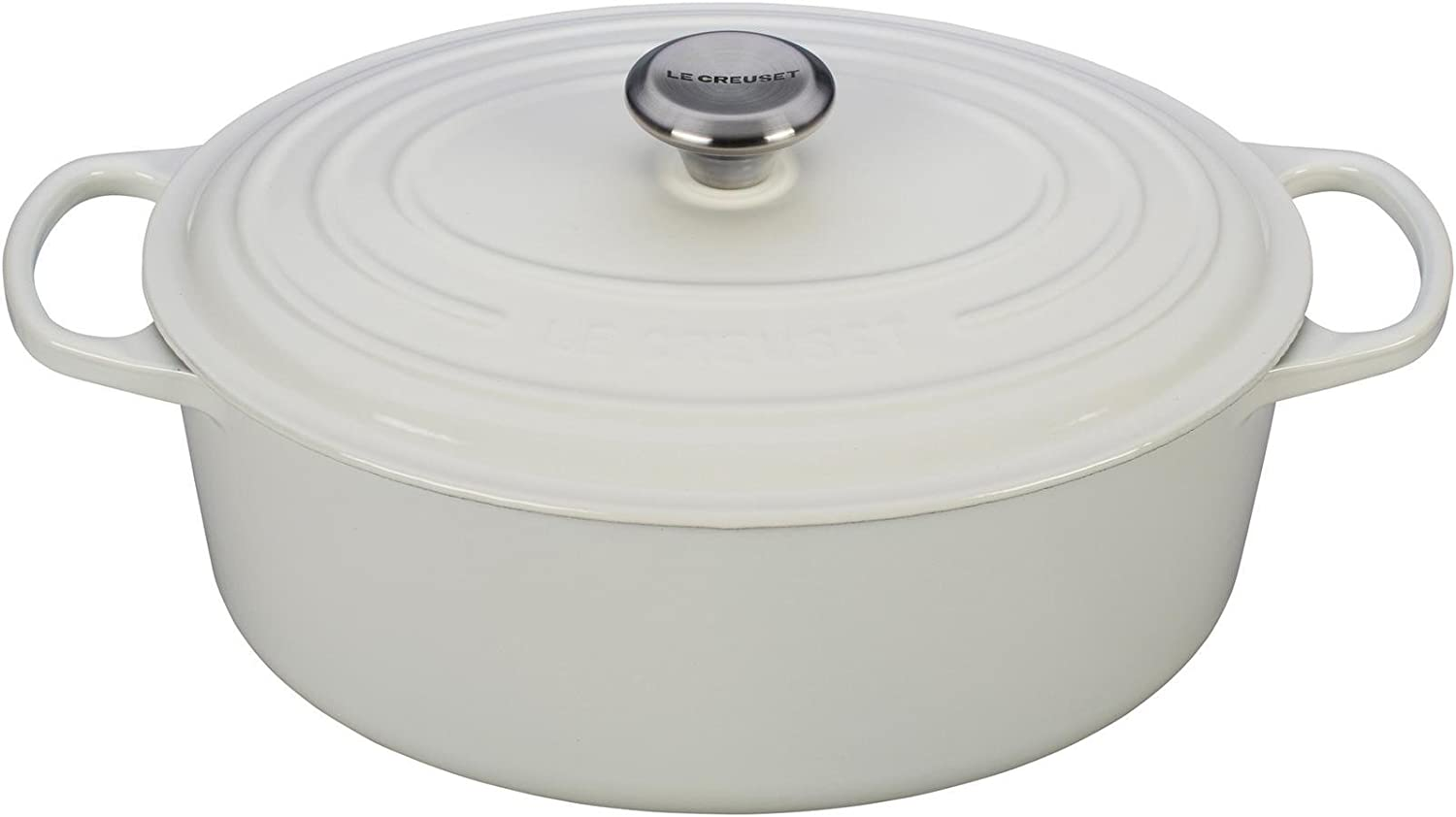 Le Creuset Enameled Cast Iron Signature Oval Dutch Oven, 6.75 qt., White
